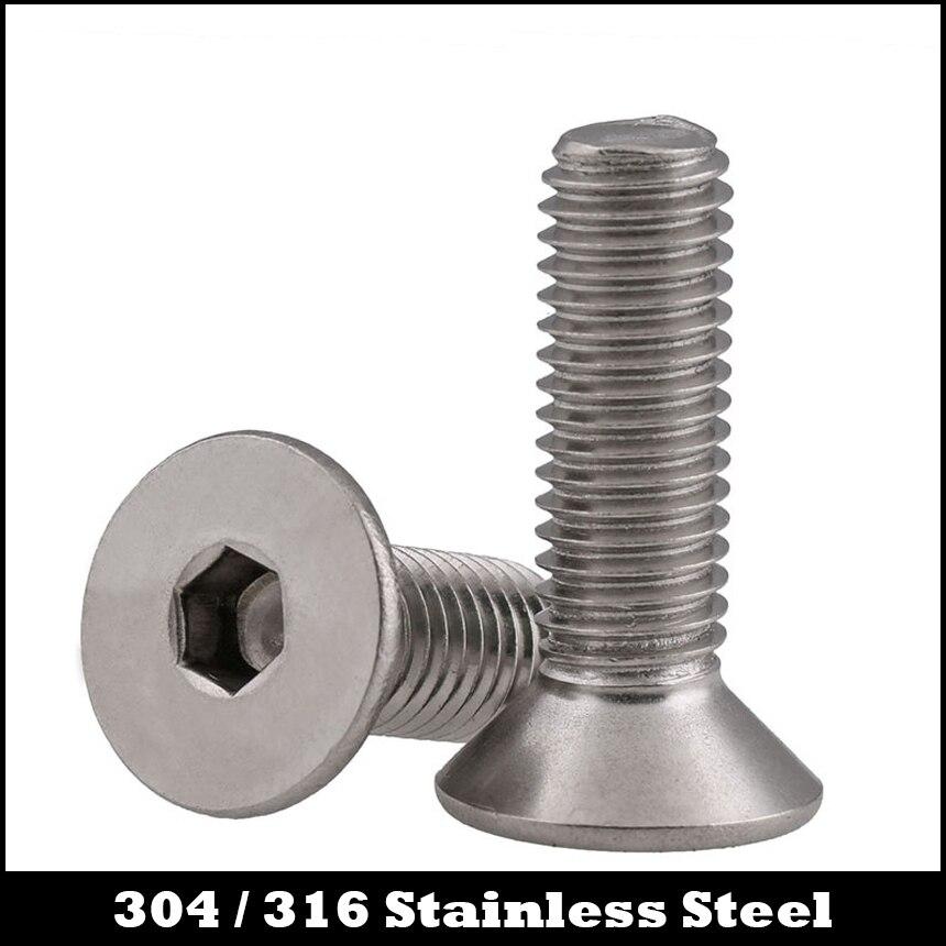 M12 M12 * 25/30/35/40 M12x25/30/35/40 304 Acero inoxidable 304SS DIN7991 perno hexagonal enchufe plano CSK tornillo de cabeza avellanada