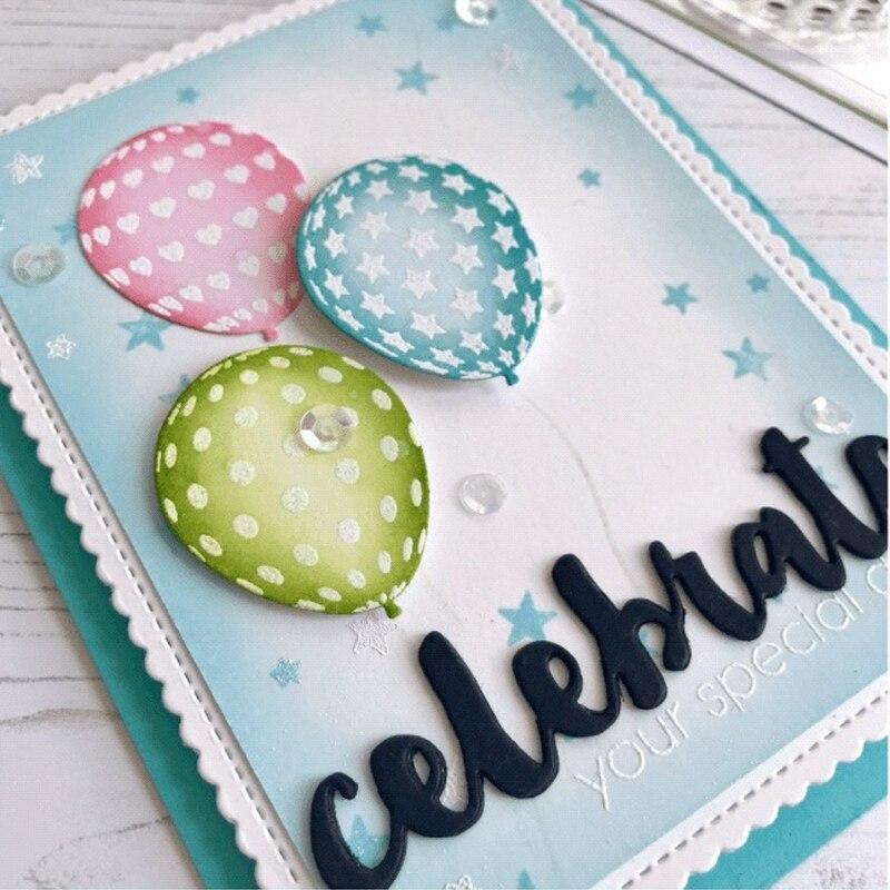 AZSG piękny balon wszystkiego najlepszego z okazji urodzin matryce do cięcia wyczyść znaczki do DIY Scrapbooking/tworzenia kart dekoracyjne pieczęć silikonowa Craft