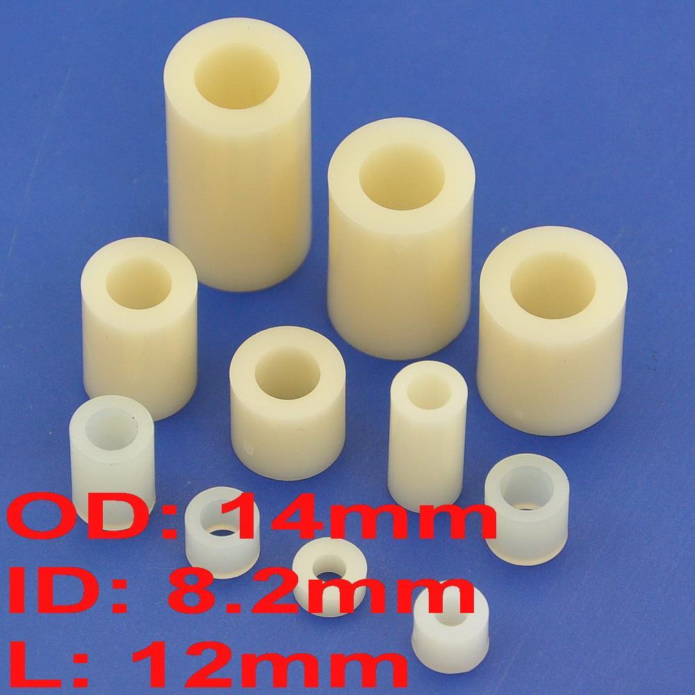 (1000 قطعة/الوحدة) 12 مللي متر البلاستيك/ABS فاصل مستديرة ، OD 14 مللي متر ، ID 8.2 مللي متر ، ل M8 المسمار.