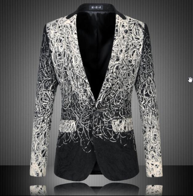 Fashion 2021 New Design Men Blazer Floral Suit Personality Casual Blazer For Men Blazer Slim Fit Jacket Men Plus Size 5XL 6XL