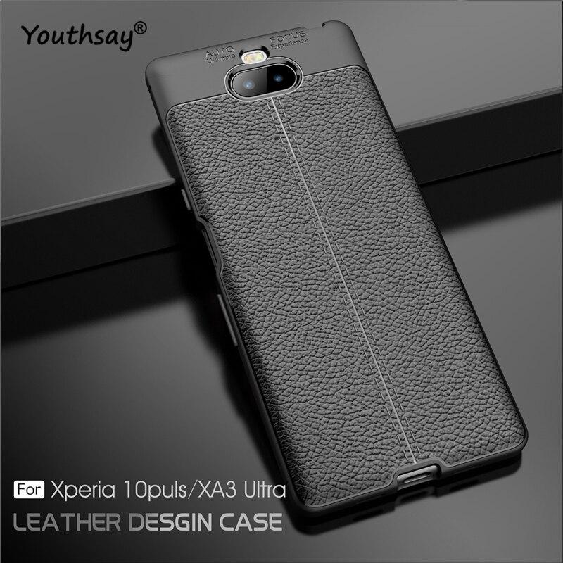 Para Sony Xperia 10 Plus funda de lujo de cuero de silicona...