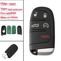 (1Pcs)5 Button Smart Remote Car Key 433MHz Fob for Chrysler Dodge Charger Journey Challenger Durango 300 46 chip M3N-40821302 No