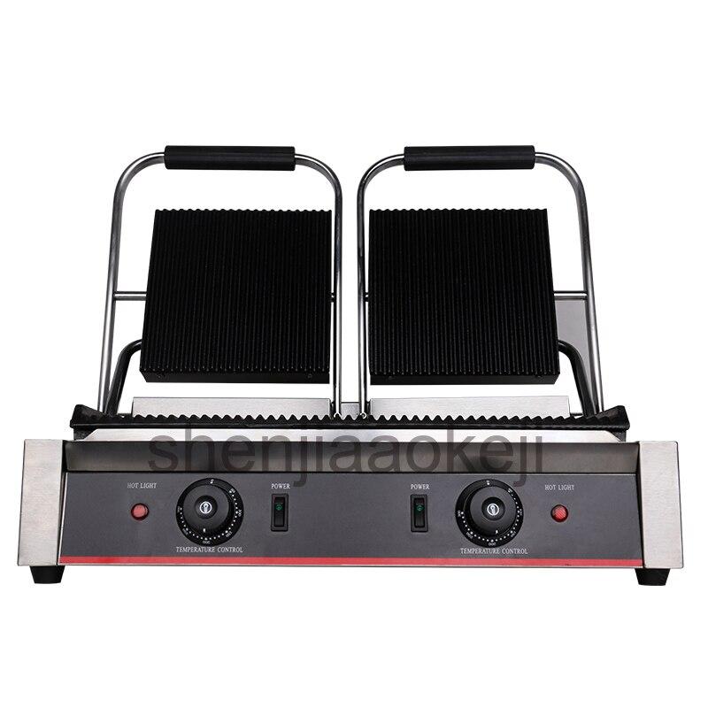 Aço inoxidável Antiaderente Imprensa Panini Placas sanduicheira elétrica griddle pan Grelhar Comercial Elétrica 1800 + 1800 w 1 pc
