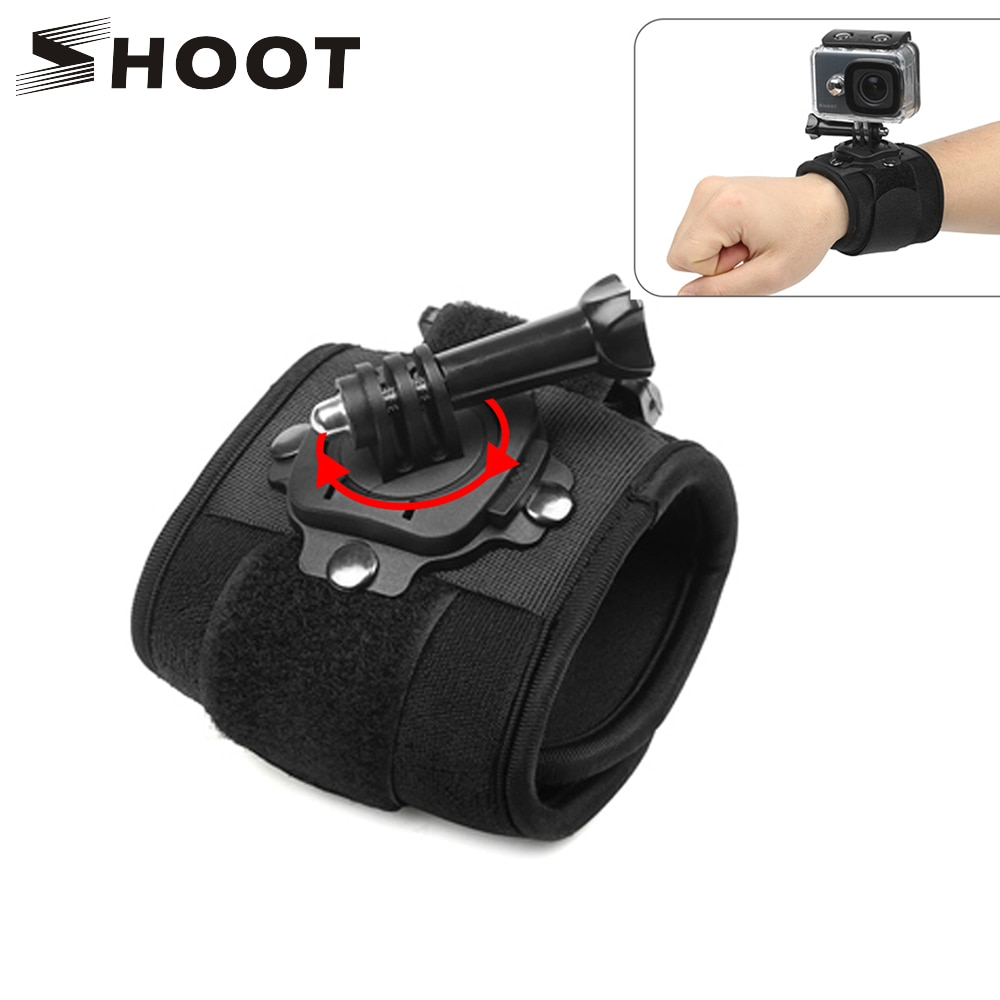 SHOOT 360 Degree Rotation Hand Wrist Strap for GoPro Hero 9 8 7 5 Session Xiaomi Yi 4K Lite SJ4000 H9r Arm Belt Go Pro Accessory shoot fetch dog harness chest strap for gopro hero 9 8 7 5 session sjcam sj4000 m20 xiaomi yi 4k h9r dji action camera accessory