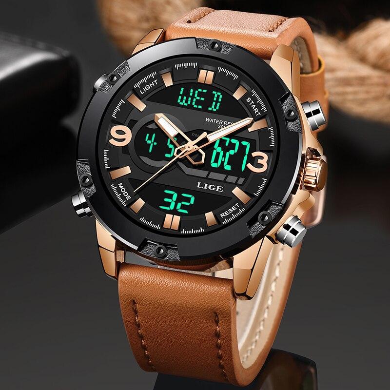 LIGE-ساعات رياضية رقمية LED للرجال ، ساعة يد رجالية ، مقاومة للماء ، مع صندوق