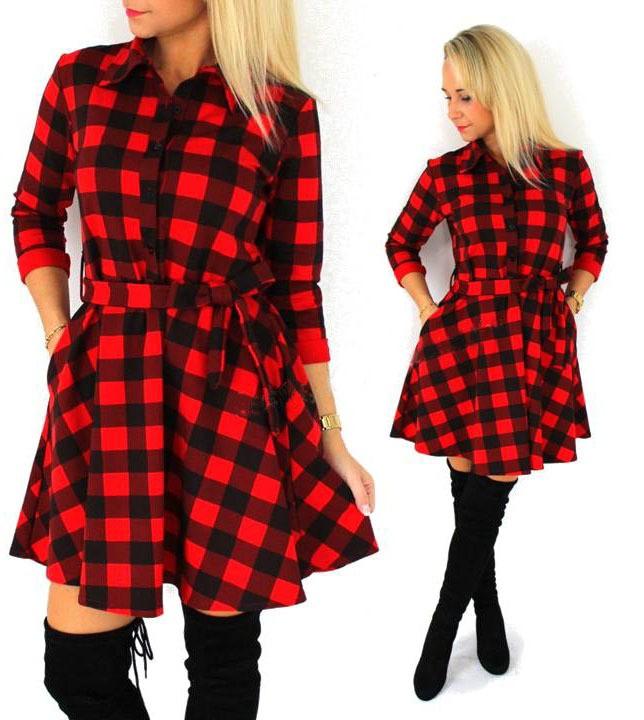 2015 Eksplozje Wypoczynek Rocznika Sukienki Jesieni fall Kobiety Plaid Sprawdź Drukuj Wiosna Codzienna Koszula Sukienka Mini Q0035 2