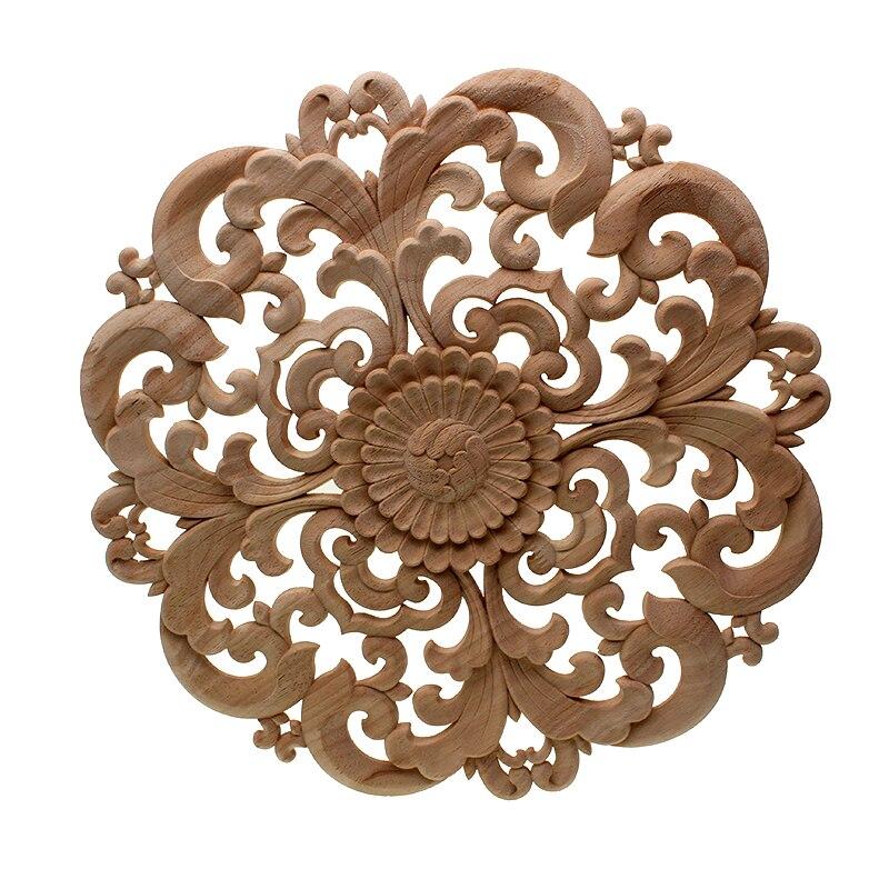 DIY ronda europea tallado en madera calcomanía casa de madera decorativa apliques tallados ventana puerta decoración figuritas de madera artesanías