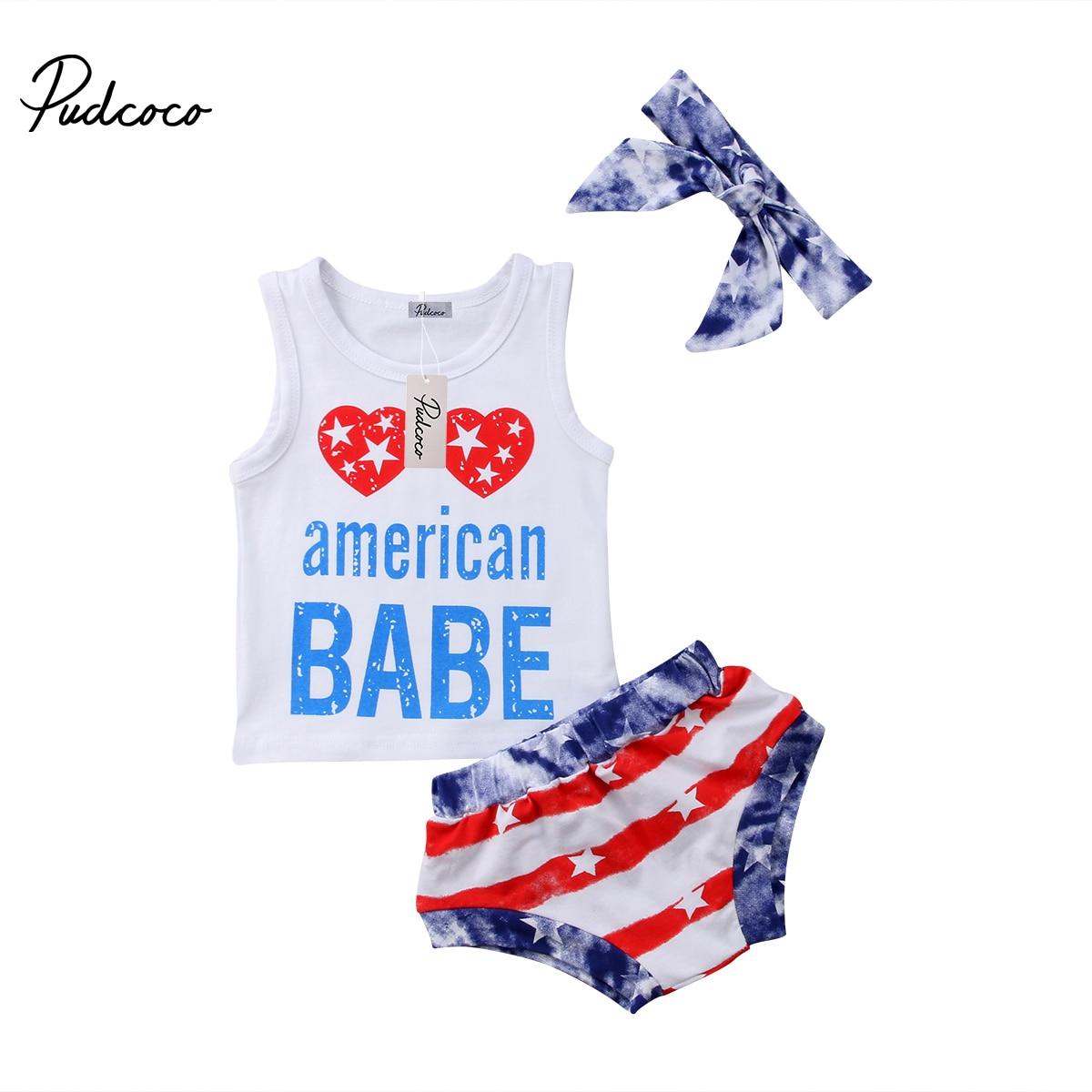2018 Brand New Infantil Da Criança Do Bebê Dos Miúdos Da Menina do Menino de Algodão Romper Calças Da Bandeira Americana Roupas Headband do 3 Pcs Casuais Set Outfit 0-4 T