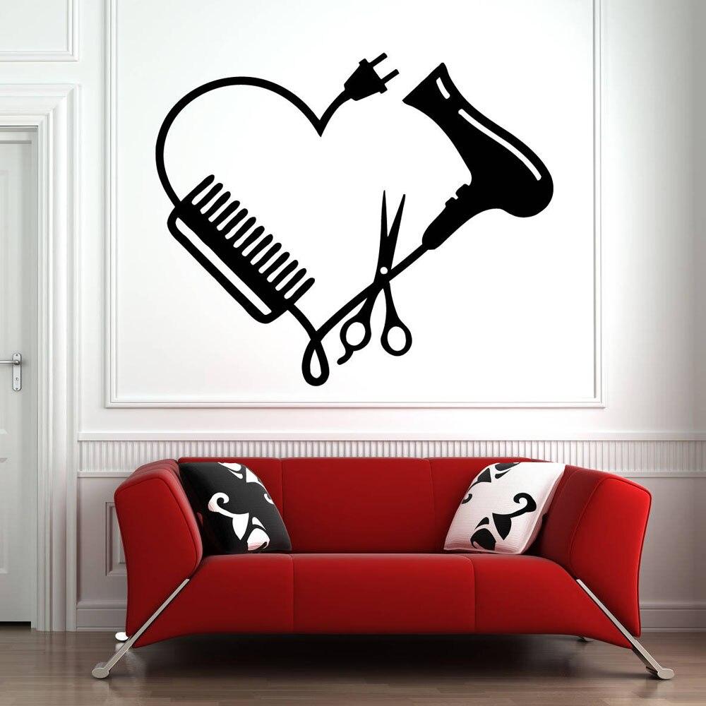 Calcomanías de pared salón de belleza vinilo adhesivo para ventana decoración tijeras pegatinas de pared diseño de arte salón de belleza peine de corazón extraíble B099