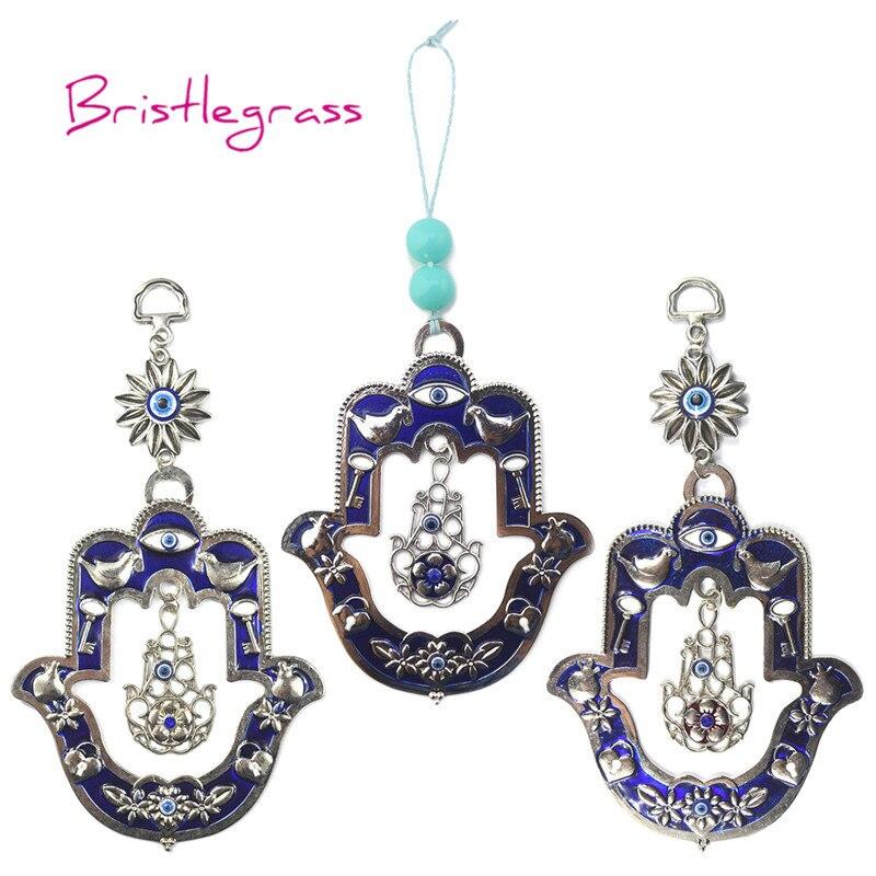 Bristlegrass turco azul mau olho hamsa mão dove flor amuleto sorte charme pendurado na parede pingente bênção proteção decoração da sua casa