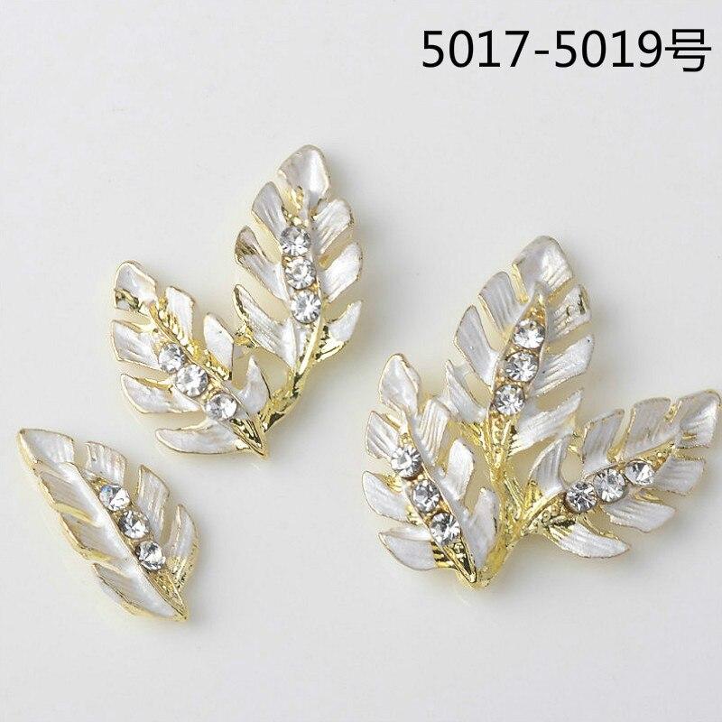 50 unids/lote nuevo color oro claro hoja de cristal rama encantos colgante Fanshion joyería DIY hallazgos artesanía hecha a mano