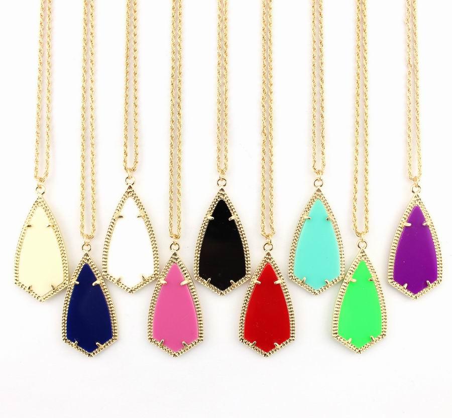 Модный уникальный змей геометрический треугольник акриловая цепочка ожерелье для женщин/девушек Золотая оправа стрелы Шарм ожерелье
