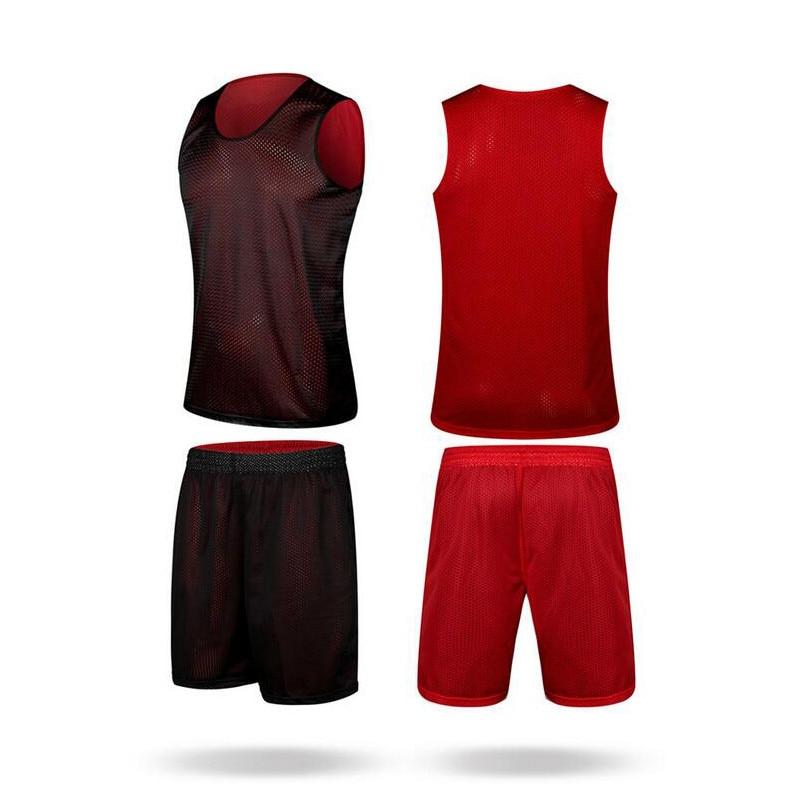 Комплект мужских баскетбольных кофт EU, Двусторонняя одежда, баскетбольные кофты + шорты, дышащие впитывающие влагу трикотажные кофты для тр...