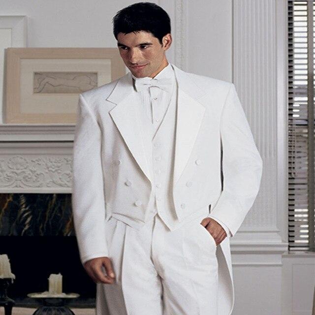 جديد ربيع 2018 بدلة بيضاء مزدوجة الصدر بدلة العريس بدلة زفاف رجالية 3 قطع بدلة (سترة + بنطلون + سترة + ربطة عنق)