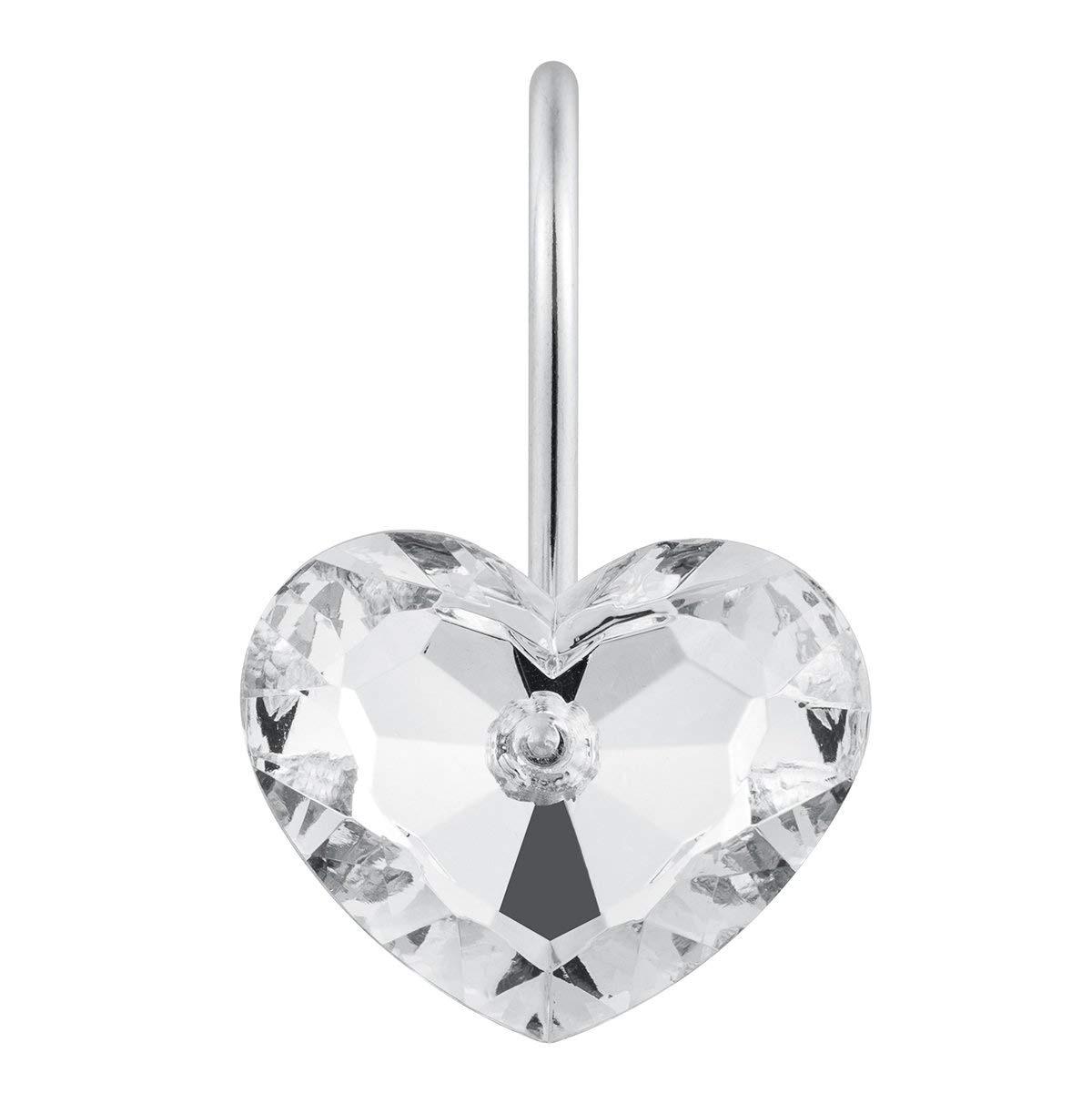 Ganchos de ducha decorativos con forma de corazón de NOCM, ganchos resistentes al óxido, anillo de ducha deslizante, colgante para Cortina de ducha, paquete de 12