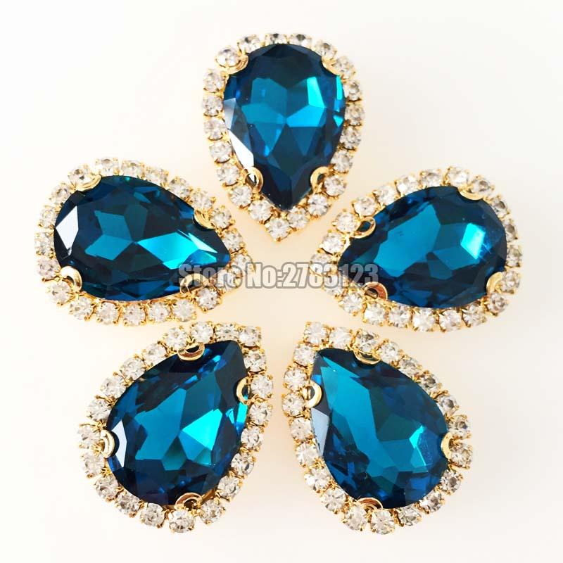 7x10/10x14/13x18/18x25mm 10 pçs/saco gota de água pavão azul costurar em strass De Vidro Cristal faltback fundo Ouro botão de Cristal