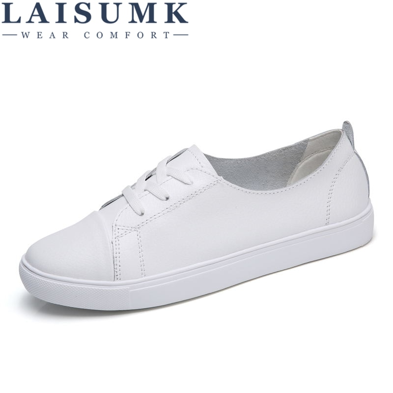 LAISUMK 2020 Autumn Women Leather Flats Shoes Basic Lace Up Flat Ladies Black White Rubber Oxford For Spring