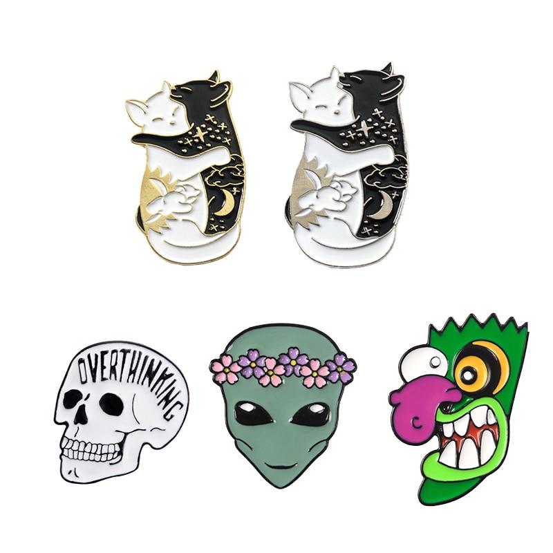 Ooga Booga Big Nose Celestial Yin Yang Cat Alien ET Halloween Skull Skeleton Enamel Brooches Lapel Pin