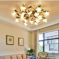 Home Glass lampshade Ceiling Lighting Bar glass Flower Ceiling Lights Creative E14 Led bedroom ceiling Fixtures For Living Room
