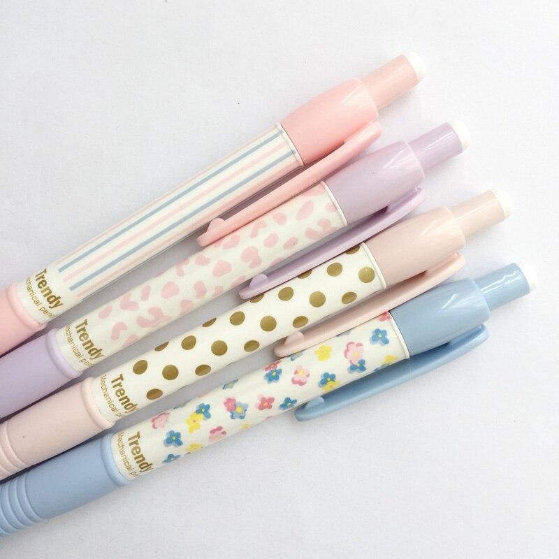 3x bolinhas cremosas listra aperto floral imprensa mecânica automática lápis escrita escola material de escritório artigos de papelaria estudante