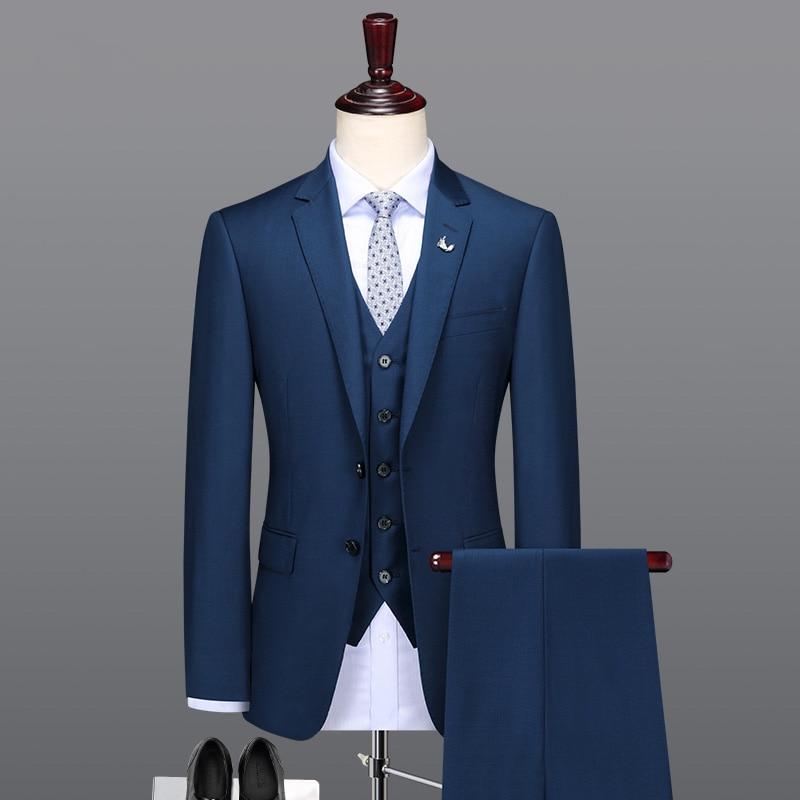 بدلة رجالية عالية الجودة بصدر واحد ، بدلة عمل مخصصة ، مقاس نحيف ، بدلة زفاف ، سترة وسراويل ، 2019