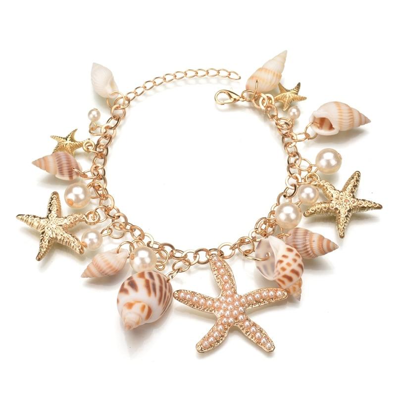 Misscycy 2017 nueva moda mareas marinas conchas y estrellas de mar pulsera de encanto bohemio para mujer joyería