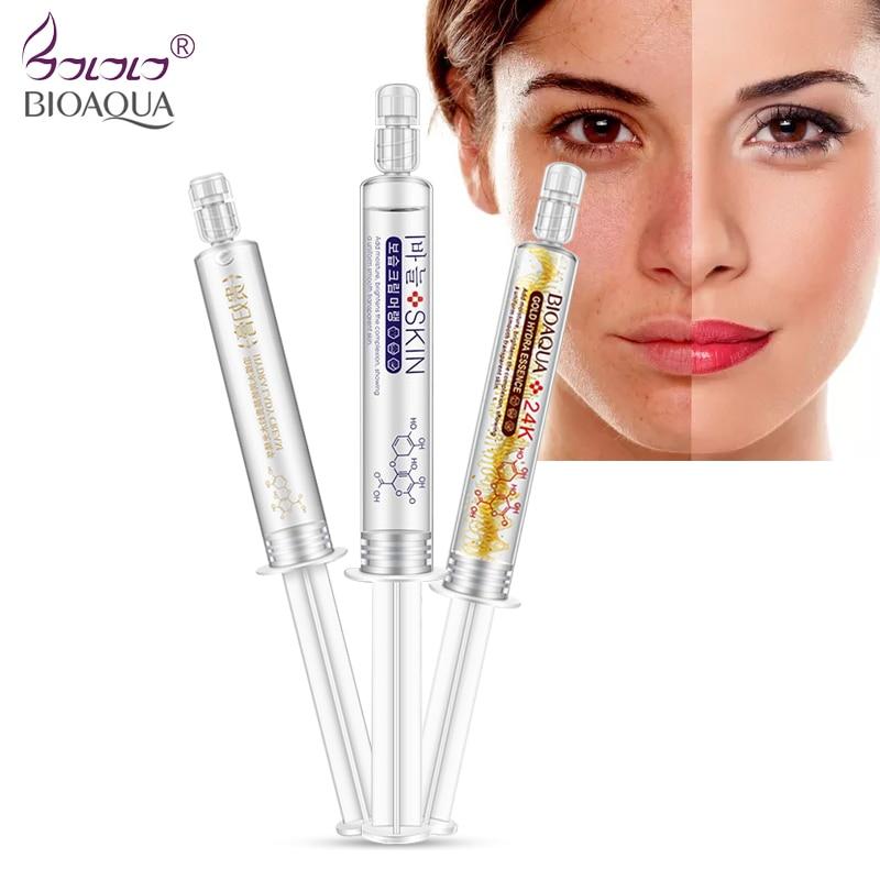 BIOAQUA 24K oro ácido hialurónico cara ácido hialurónico suero facial máscara Anti edad arrugas blanqueamiento cuidado de la piel 3 uds