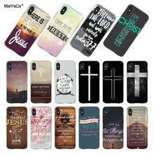 MaiYaCa pour iphone 7 6 X étui Bible verset Philippians jésus Christ Christian Coque de téléphone pour iphone 6s X 8 7 6 Plus 5 5S SE Coque