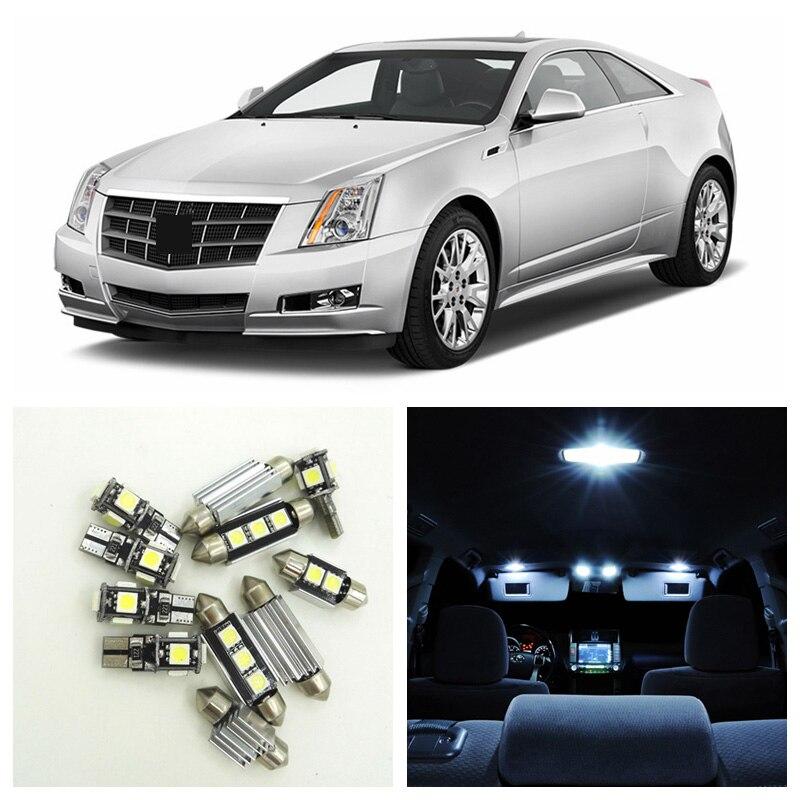Ampoules de voiture Canbus blanches   14 pièces, pack intérieur pour 2008-2013, lampe de plaque dimmatriculation pour Cadillac CTS Map dôme porte