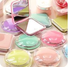 Espejo de maquillaje Mini de bolsillo para chica, espejos compactos cosméticos, espejos portátiles de doble cara, marco de acrílico, Espejos de maquillaje cosmético