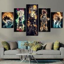 Lienzo en módulos impresiones de alta definición, carteles de arte de pared, 5 paneles de Dragon Ball Anime, pinturas de moda para niños, habitación, decoración, marco de fotos