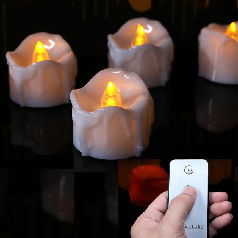 Paquete de 3 velas de batería a distancia parpadeantes, decoraciones para fiesta de cumpleaños de luz blanca cálida amarilla para niños, bogies decorativos