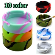 Glowing In the Darkness Silicone Ashtray Portable Round Cigarette Ash Tray Holder Foldable Eco-Friendly Soft Cenicero Luminous