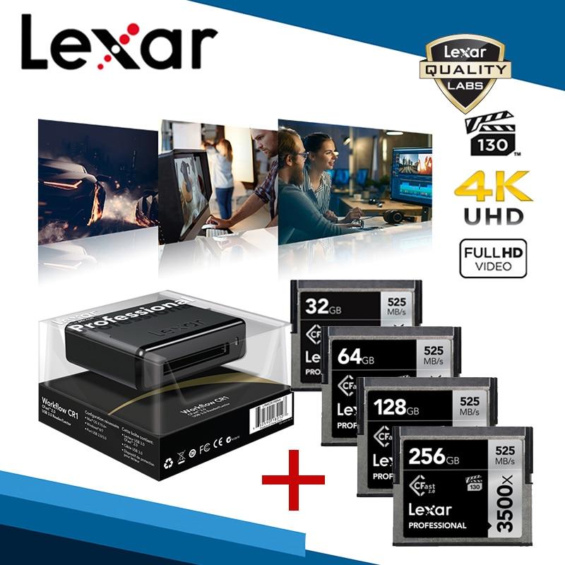 Lexar 3500X Cfast Karte Mit Karten Reader 512G CF Speicher 256G Speicher Karte 128G Kartenleser 64G HD 4K 1800P Video Kamera VPG-130