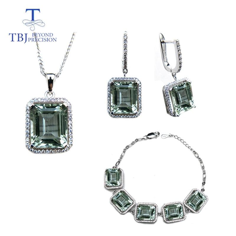 TBJ, naturel vert améthyste pierres précieuses bijoux colliers et boucles doreilles ensemble en 925 argent pierres précieuses bijoux pour les femmes avec boîte-cadeau