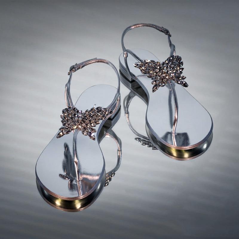 Sandalias de mujer de moda INS, Sandalias planas con lazo de diamantes de verano para la playa, Sandalias planas con brillantes diamantes de imitación y lazo, Sandalias planas de Lazo de cristal para mujer