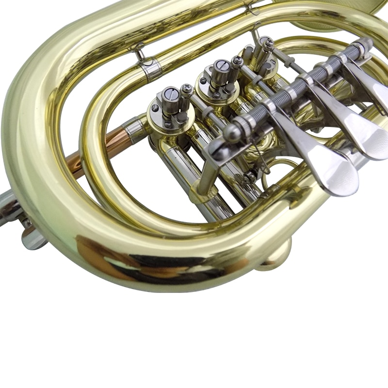 Bb Rotary Cornet musical instruments  Yellow Brass cornet trumpet with Case and Mouthpiece enlarge