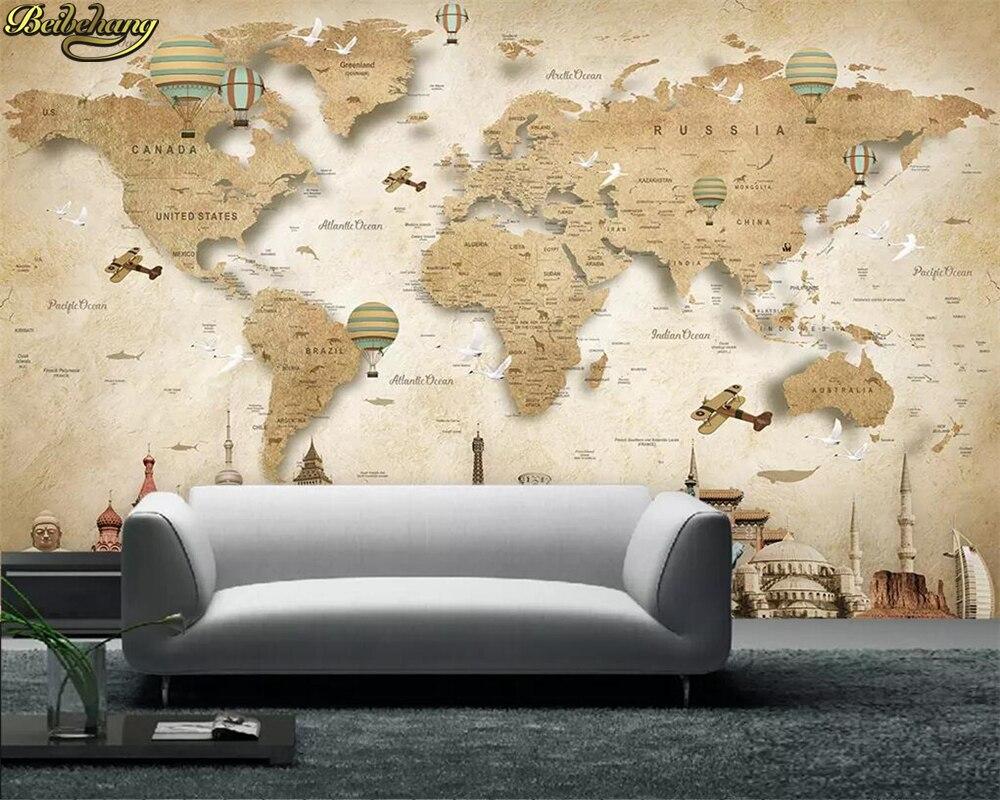 Beibehang personalizado foto 3d papel de parede mural dos desenhos animados mapa do mundo fundo papéis decoração da sua casa infantil
