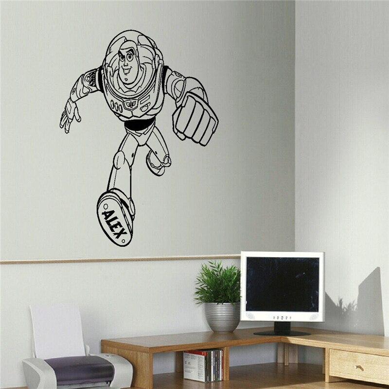 Игрушка история персонализированные Базз стены искусства переводная наклейка милый мультфильм наклейки на стену для детей спальня домашн...