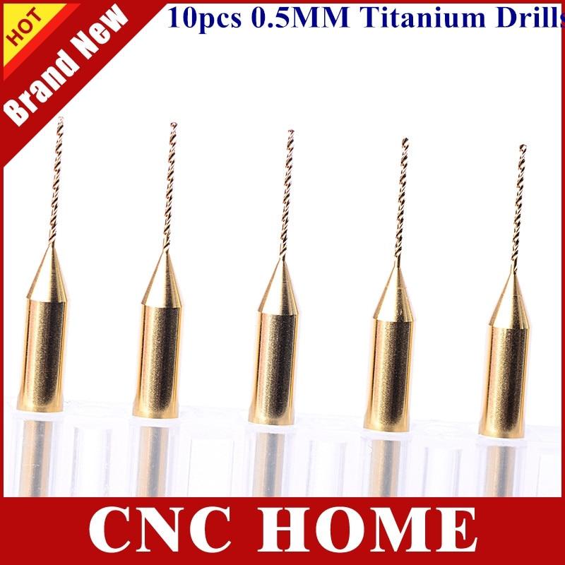 10 unids/lote 3.175*0,5*8,5 MM perforación de PCB recubierta de Titanio, herramienta de enrutador CNC de carburo, joyería Dremel PCB broca CNC