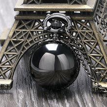 Montre De poche à Quartz noire en forme De boule lisse Steampunk, pendentif avec chaîne pour femme, cadeau pour femme Relogio De Bolso