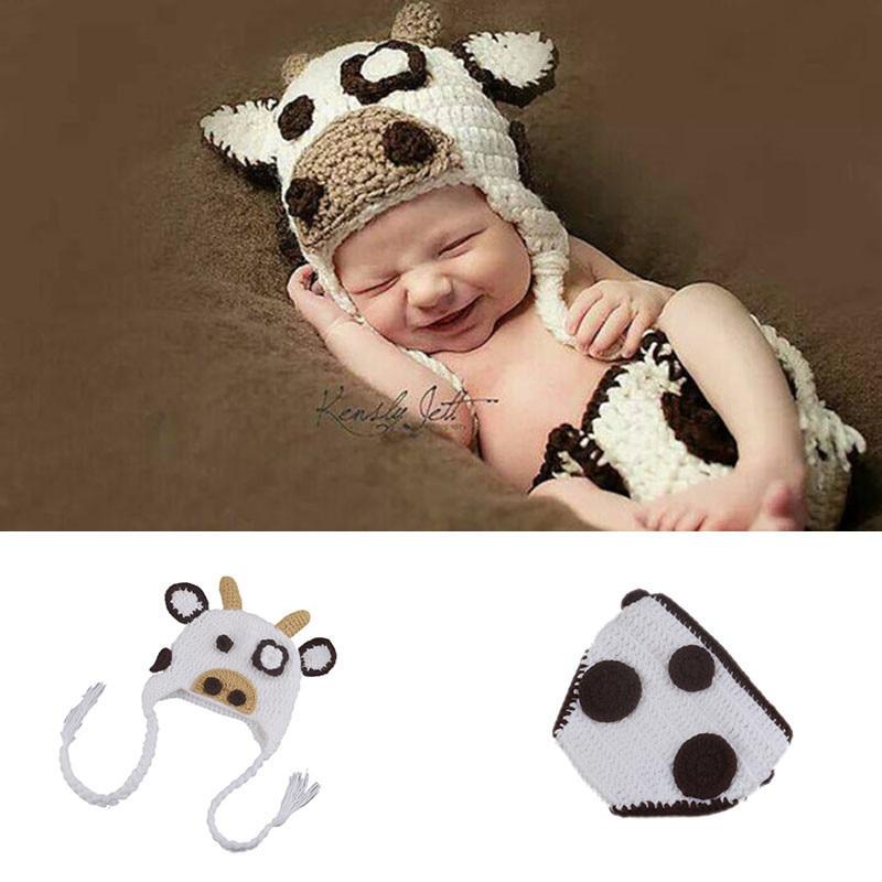 Crazy Cow Design Newborn Crochet Knit Costume Baby Long Braid Beanies Hat Handmade Infant Diaper Cover Photo Props Clothes Set