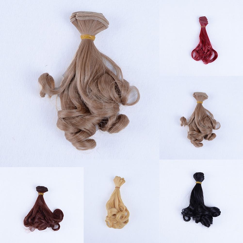1 Uds., 15cm * 100cm, 1/3 1/4 1/6, pelucas de extensión BJD, pelucas onduladas, negro, dorado, caqui, cabello ondulado y rizado DIY
