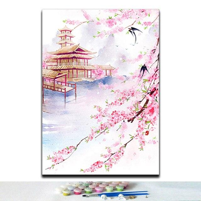 Cuadros de animales con paisaje de flores de estilo chino tradicional pinturas para colorear por números diy 40x50 enmarcados para decoración de pared de habitación