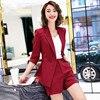 IZICFLY אביב קיץ פסים נשים עסקים קצר חליפות עבודה עם אלגנטי עסקים Blazzer Mujer משרד ללבוש 2 חתיכה קצר סט