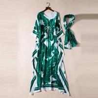 high quality 2019 spring summer new designer women dress fashion banana leaf print silk scarf bohemian sleeves long ladies dress