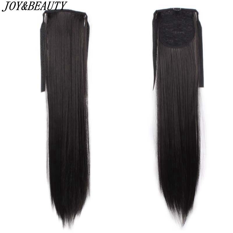 "JOY & BEAUTY 24 ""largas colas de caballo rectas Clip en cola de caballo cordón sintético cola de Pony resistente al calor extensiones de cabello falso"