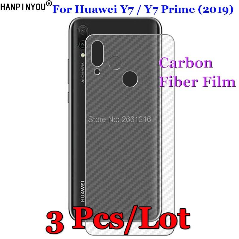 """3 pçs/lote Para Huawei Y7/Y7 Prime (2019) 6.26 """"3D Não-slip Claro Protetor de Tela do Filme Adesivo de Proteção De Fibra De Carbono de Volta"""