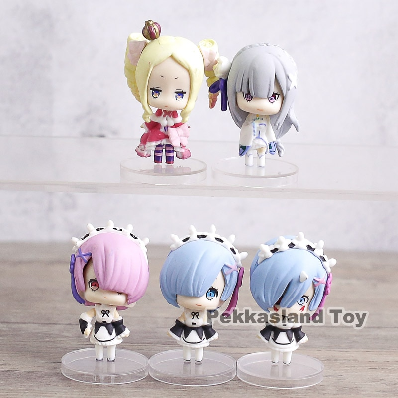 A cero Kara Hajimeru Isekai Seikatsu Rem Ram Emilia Beatrice Mini PVC figuras juguetes 5 cm 5 unids/set
