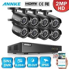 ANNKE 8CH HD 1080P System nadzoru bezpieczeństwa wideo 5w1 1080N H.264 + DVR 8 sztuk HD TVI inteligentny IR Bullet odporna na warunki atmosferyczne kamera telewizji przemysłowej
